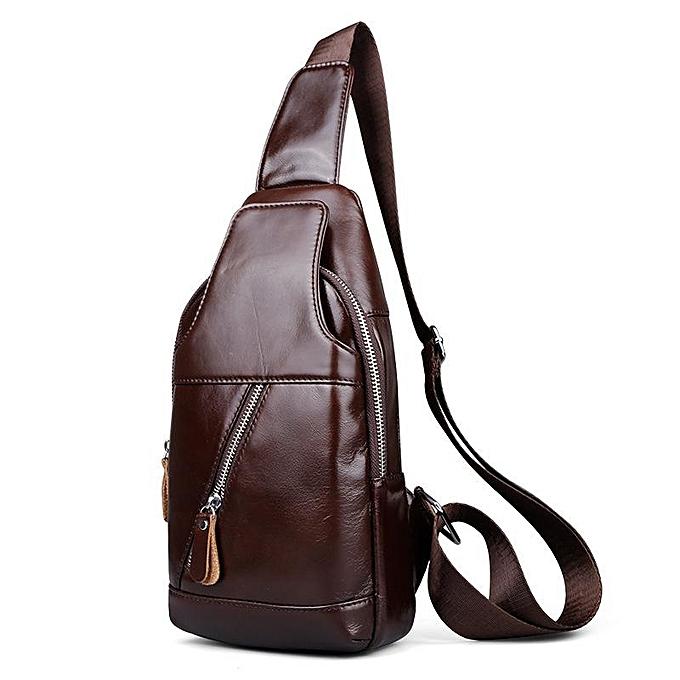 UNIVERSAL Men Vintage Genuine Leather Chest Bag Retro Oil Wax Smooth Shoulder Bag  marron à prix pas cher