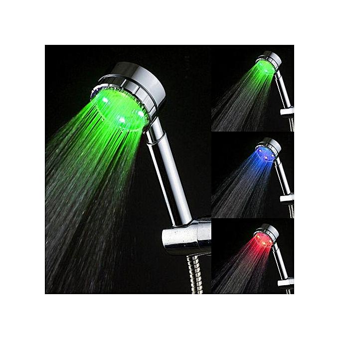 Generic Hiamok-Bathroom Sprinkler Temperature Sensor 3 Couleurs LED Light Shower Head à prix pas cher