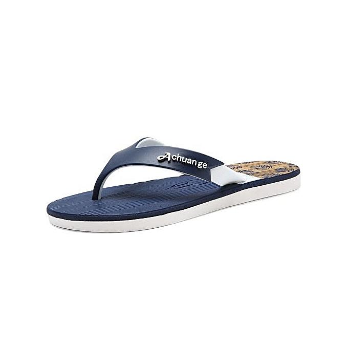 OEM Super grand Taille  Hommes's EVA Flip Flops imperméable  Non-slip respirant slippers Indoor bathing plage slippers-dark bleu à prix pas cher