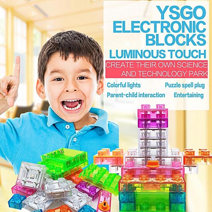 Autre 19 Pieces Electronic Building Blocks Integrated Circuit lumière Up DIY Educational Stacking Toys Brain Game set à prix pas cher