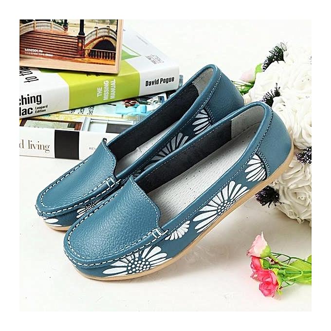 Fashion Fashion femmes Leather Floral Print Couleur Match Soft Sole Slip On Flat Loafers à prix pas cher    Jumia Maroc