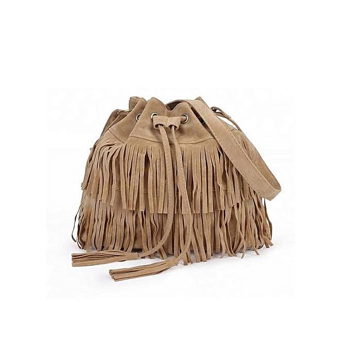 mode femmes Faux Suede Shoulder Tassel Ladies Elegant Fbaguee sac Handsac mode nouveau(Beige) à prix pas cher