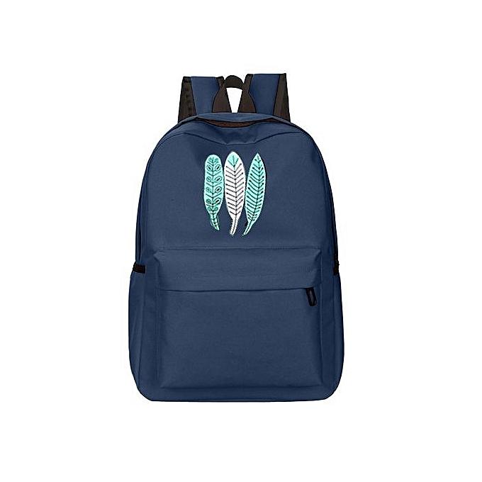 mode SingedanGirl Oxford Cloth School sac impression sac à dos Satchel femmes Trave Shoulder sac -bleu à prix pas cher