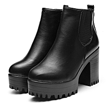 f8e4fb49209 WOMENS LADIES CHELSEA ANKLE BOOTS CHUNKY PLATFORMS BLOCK HIGH HEELS ZIPPER  SHOES