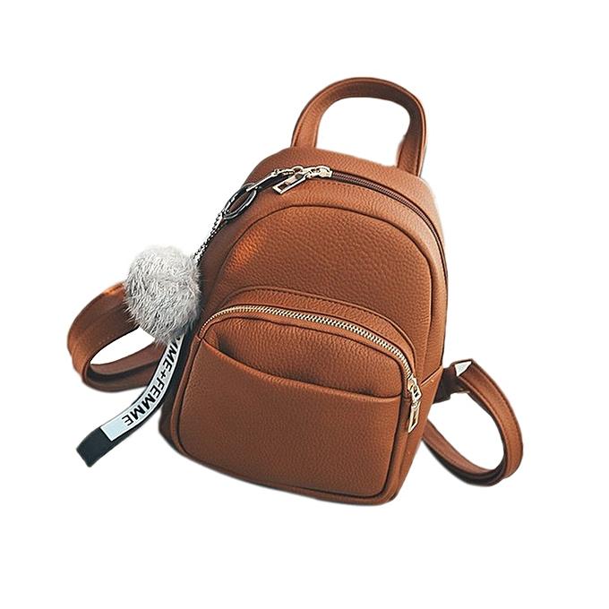 Other Female Soft PU cuir Mini sac à doss Students Fuzzy Ball pendentif Shoulder Schoolsacs femmes mode petit voyage sacs Back Pack(marron) à prix pas cher