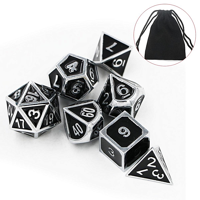 UNIVERSAL Dungeons and Dragons Dice Set  bleu Chrome Metal Pathfinder D&D, rpg, d20, dnd à prix pas cher