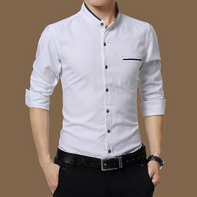 Tauntte Men's Shirts Long Sleeve Slim Fit Business Formal Shirts (blanc) à prix pas cher