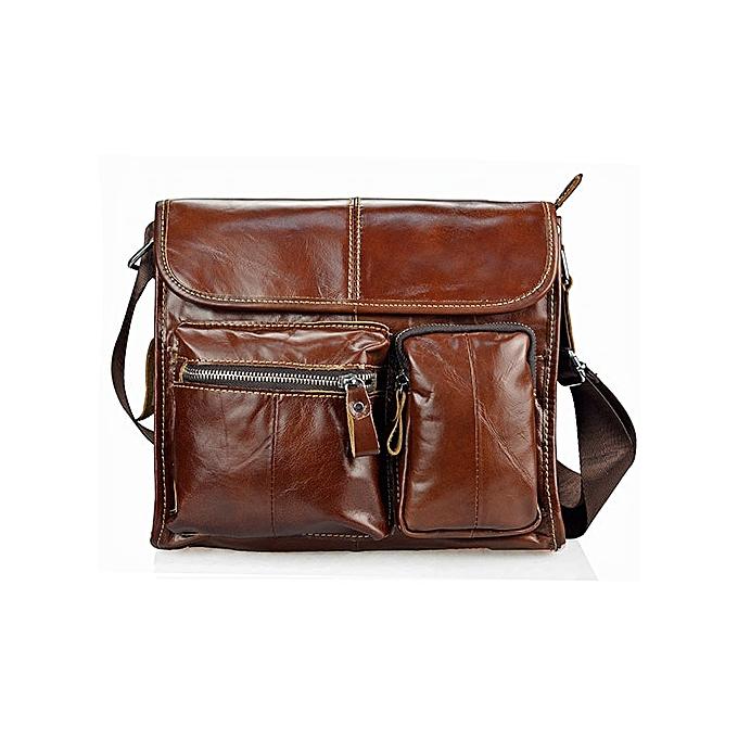 Other 2018 Fashion Oil Wax  Leather Men Bag Brand Messenger Bags For Men High Quality  Vintage Leather Male Travel Handbags(marron) à prix pas cher