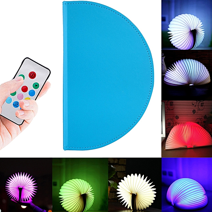 Sunsky Creative Portable USB Charging Semicircle Foldable Pages Couleurful Dimming LED Book Shape Light Night Light With Remote Control (bleu) à prix pas cher