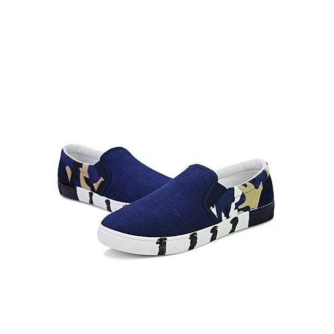HT   Camo Flats Camo  Printing Canvas Loafers-Blue à prix pas cher  | Black Friday 2018 | Jumia Maroc fcb979