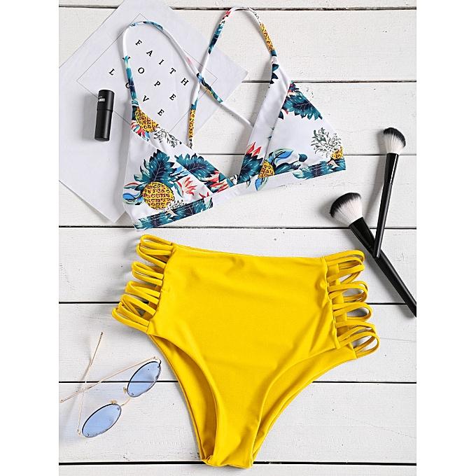 Generic HL Pineapple Print Strappy High Rise Bikini Set (jaune) (L, M, S) à prix pas cher