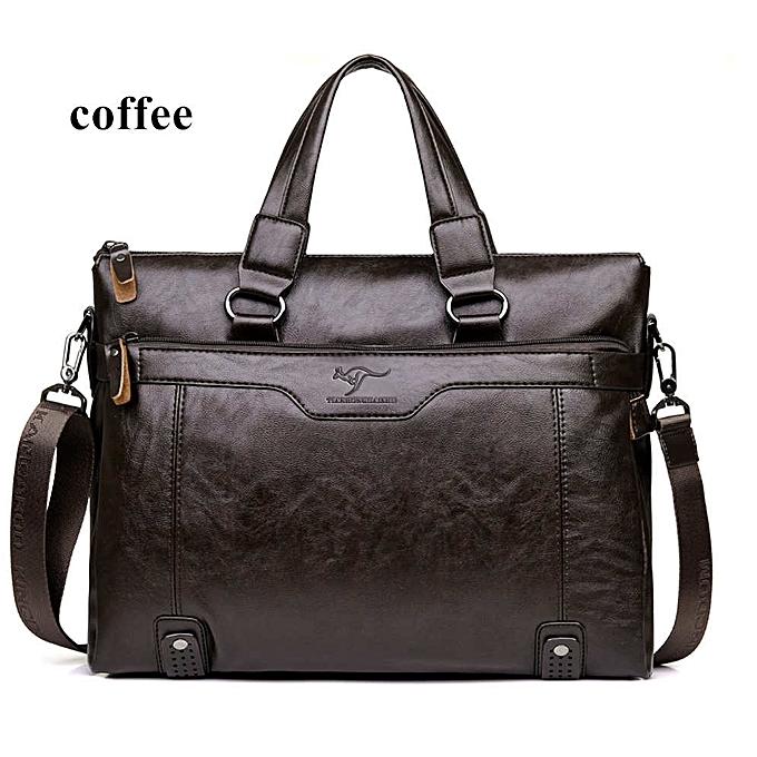 Other Men Business Leather Briefcase Shoulder Messenger Bag for 14  Laptop Men's Crossbody Briefcase Bags man Handbag Messenger bags(coffee) à prix pas cher