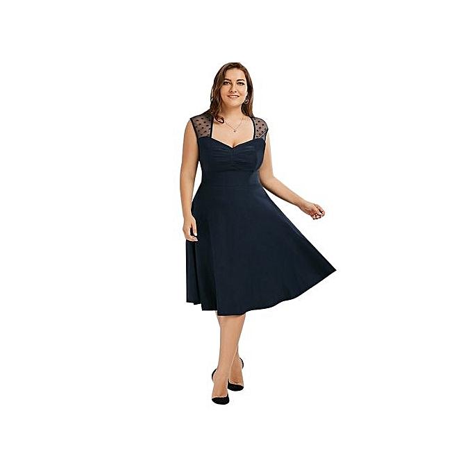 mode 4XL 5XL grand Taille été Robe femmes Sleeveless V-neck A-line Lace Long Robees Plus Taille Clothing-navy bleu à prix pas cher