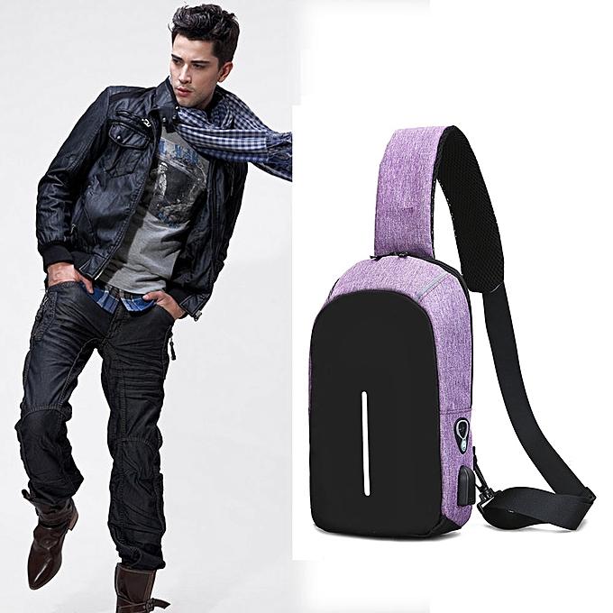 mode Tcetoctre Hommes mode Sling sac Décontracté Chest sac Anti Theft bandoulière sacs PP-violet à prix pas cher