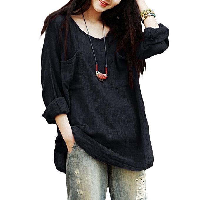 Zanzea femmes Casual Blouse Shirt Vintage Pockets Long Sleeve Solid Tops OverTailled Side Split Cotton Loose Autumn bleusas Plus 5XL noir à prix pas cher