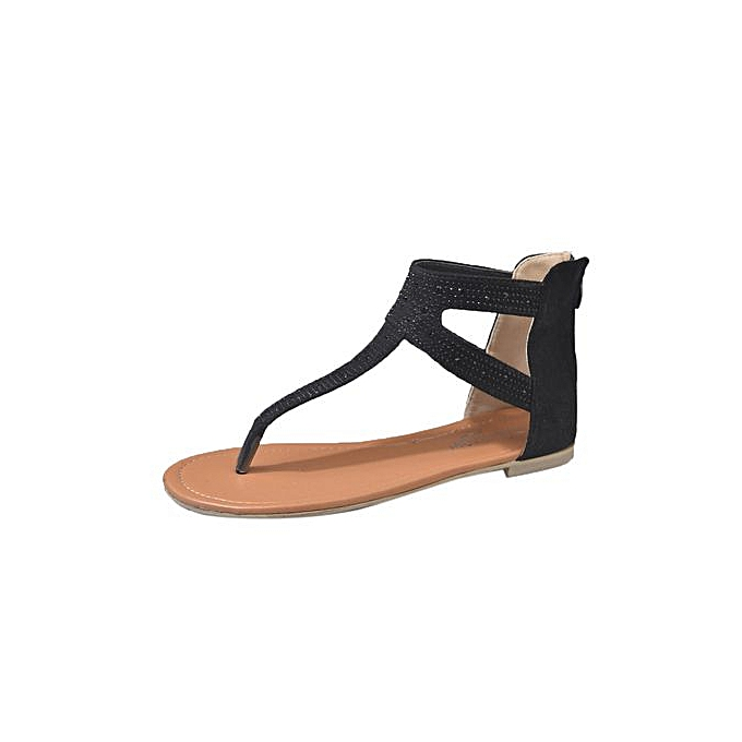 Fashion Tectores Fashion Trend femmes Diamond Zipper Gladiator Low Flat Flip Flops Beach Sandals Bohemia chaussures à prix pas cher