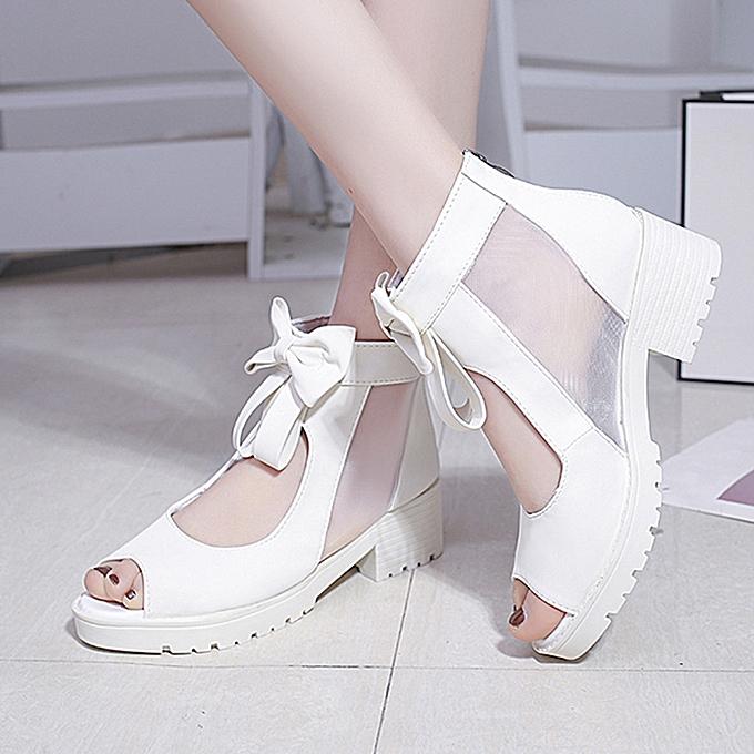 Fashion (Xiuxingzi) Summer Wohommes talons hauts Breathable Mesh Sandals Fashion Solid Bow Zipper chaussures à prix pas cher