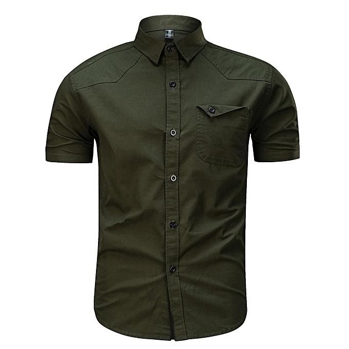 mode Hommes& 039;s Décontracté mode Military Pure Couleur Cotton manche courte Loose T-shirt hauts- Army vert à prix pas cher