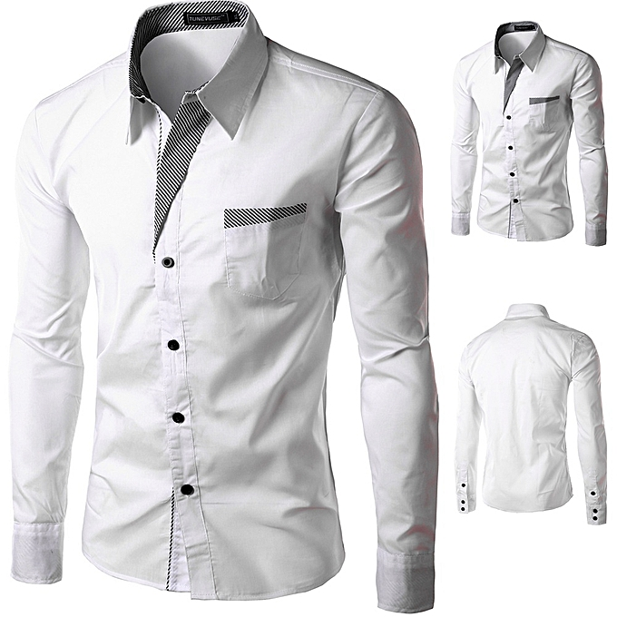 Other Casual Men's Long Sleeve Shirt  Slim Fit Blouse for Men-blanc à prix pas cher