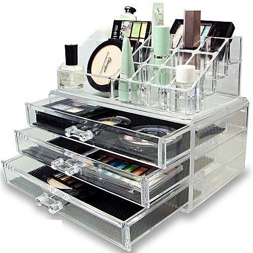as seen on tv organisateur rangement de maquillage make up et bijoux avec 3 tiroirs acheter en. Black Bedroom Furniture Sets. Home Design Ideas