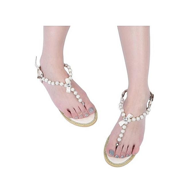 Fashion Summer Elegant femmes Pearl Bowknot Flat Thong Sandal à prix pas cher