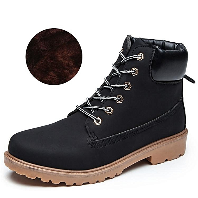 Fashion WoHommes 's Leather Work Snow Martin Boots Plush Fur Work Leather Outdoor Casual Shoes Waterproof BLACK à prix pas cher  | Jumia Maroc 95efda
