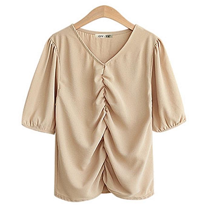 OEM femmes& 039;s nouveau hauts Loose Thin V-neck Simple Pleated Sleeve Shirt-khaki à prix pas cher
