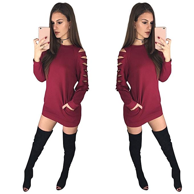 mode femmes Round Neck HolFaible Out Pocket manche longue Shirt Party Décontracté Robe RD L à prix pas cher