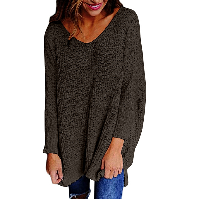 Fashion femmes V-Neck  Loose Knitted Long Sleeve Jumper Sweater Ladies Casual Tops. à prix pas cher