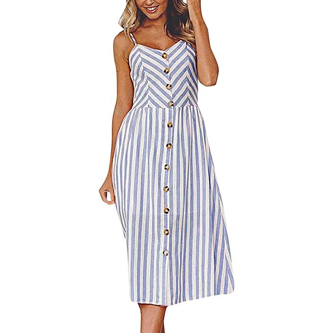 Generic Fovibery femmes Stripe Buttons Off Shoulder Sleeveless Robe Princess Robe à prix pas cher