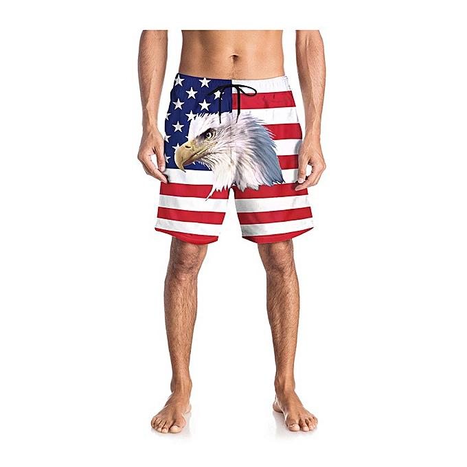 mode Hommes& 039;s été mode Causal Slim Fit Sport Flag Print courtes Jeans Pants à prix pas cher
