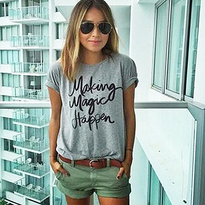 Other Lady's Round Collar Short-sleeved Letters Making Magic Happen Printed T-shirts-gris à prix pas cher