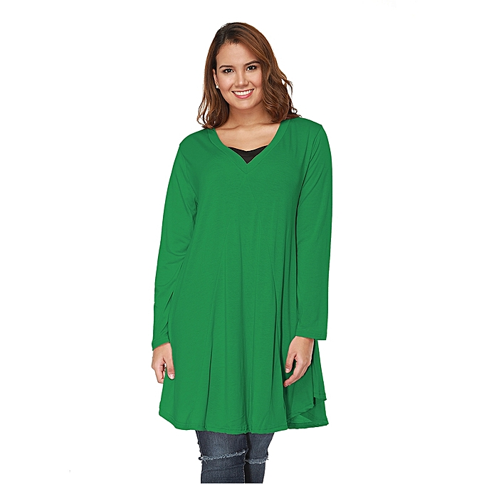 Generic European and American Style Loose Comfortable Plumpy Female Irregular Slimming Dress, Taille  3XL(vert) à prix pas cher