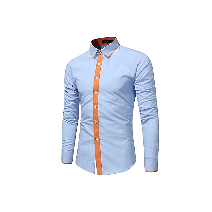 Generic Refined Men's Leisure Shirts Long Sleeved Shirts Contrast Couleur Printing Slim Large Taille Personality Shirts à prix pas cher