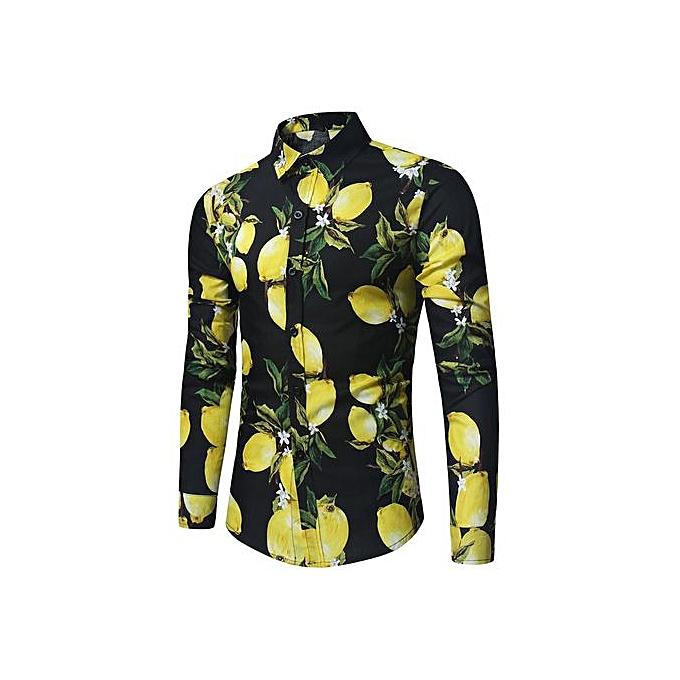 AFankara Lemon Print manche longue Shirt - noir à prix pas cher