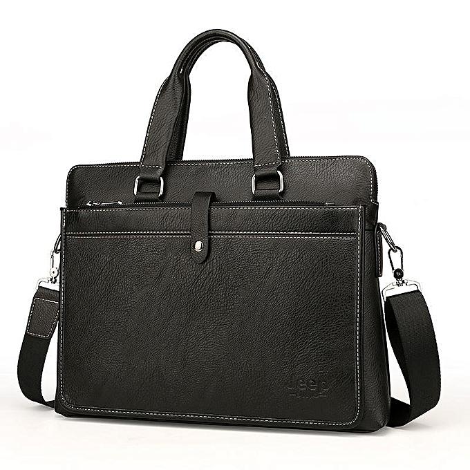 Other European And American Brand Fashion Computer Handbags Soft Split Leather Briefcase Leather Laptop Bag(noir) à prix pas cher