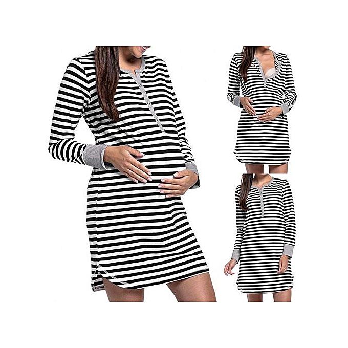mode Tectores femmes& 039;s manche longue Button Nursing Nighcravate Stripes Maternity Breastfeeding Robe à prix pas cher