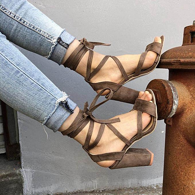 Generic Tcetoctre Fashion femmes Ladies Sandals Ankle High Heels Block Party Open Toe chaussures-Khaki à prix pas cher