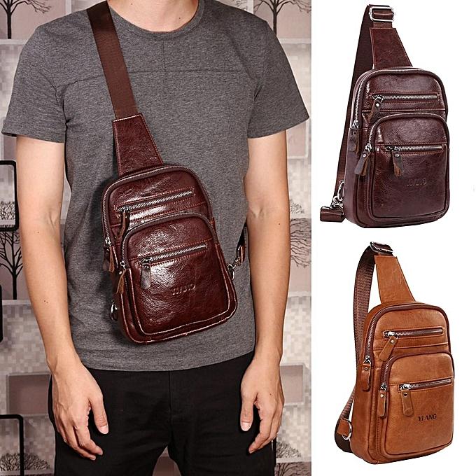 Fashion Crossbody Bag Men Ekphero Casual Genuine Leather Wax Chest Bag à prix pas cher