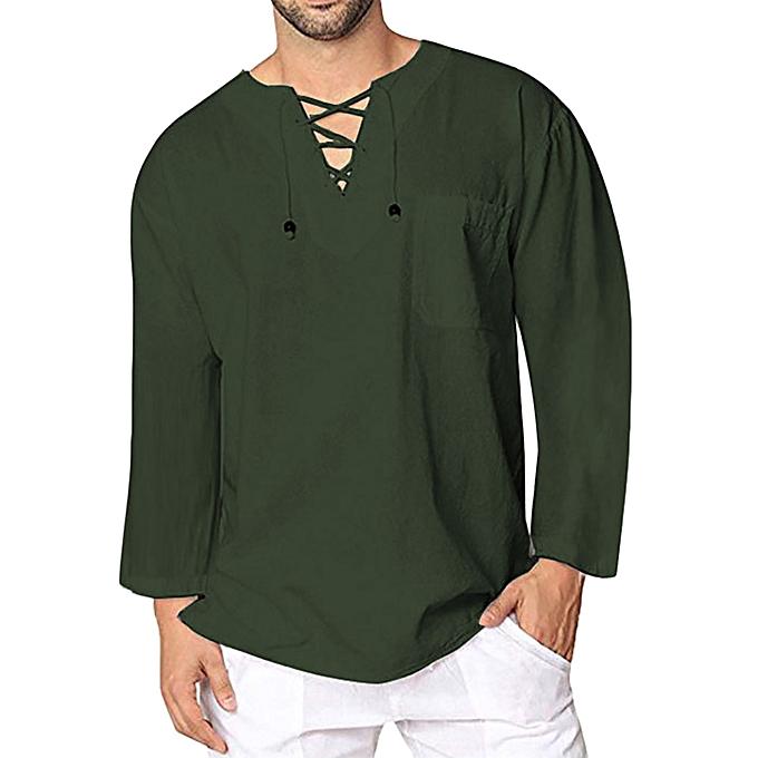 Fashion Men's Autumn Winter Vintage Casual Linen Lace Long Sleeve T-shirt Top Blouse à prix pas cher
