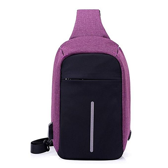 Generic mode Chest sac USB Charging Slot Anti-theft Shoulder sac For de plein air voyage violet à prix pas cher