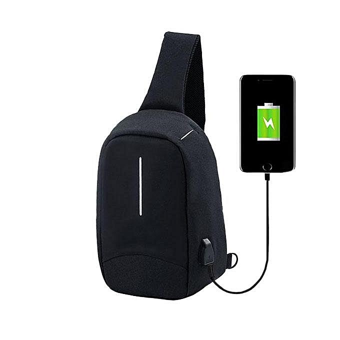 UNIVERSAL Men External USB Charging Function Sling Bag Water Repellent Anti Theft Crossboby Bag for 9.7  Ipad  noir à prix pas cher