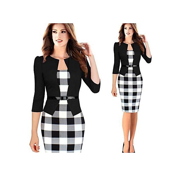 mode Formal Midi Gown + 3 4 Sleeves Faux veste + Lattice Belt - blanc noir à prix pas cher