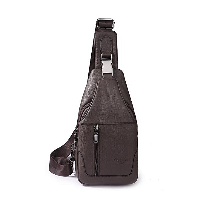 UNIVERSAL Men Soft Genuine Leather Chest Bag Shoulder Crossbody Bags Chest Pack for Ipad Mini  coffee à prix pas cher
