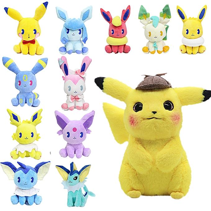 Autre High Quality Pikachu Eevee plush toys Jigglypuff Charhommeder Gengar Bulbasaur Animal Plush Cosplay Stuffed Toys For Kids(10    25CM) à prix pas cher