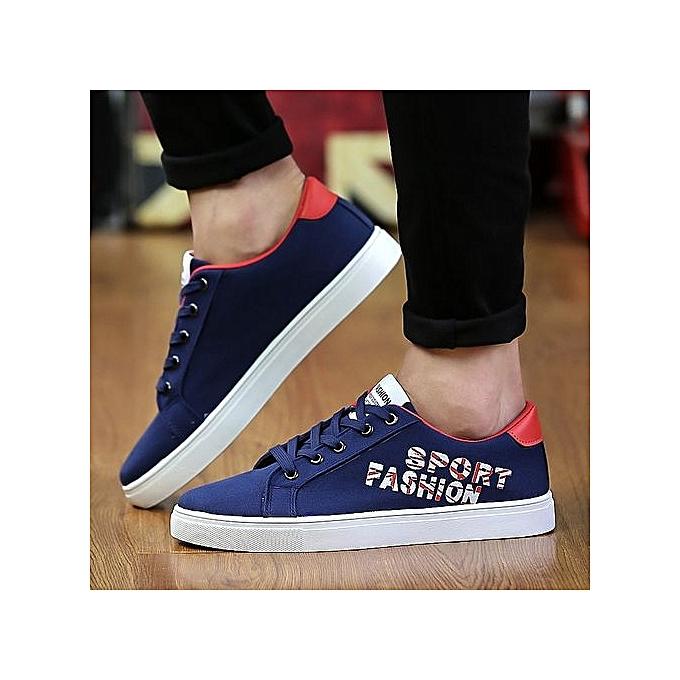 mode Hommes chaussures nouveau 2018 Spbague toile Hommes Décontracté chaussures respirant Round Lace-Up Flats Classical -bleu à prix pas cher