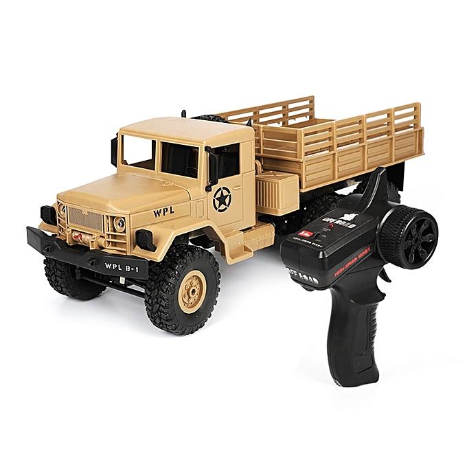 UNIVERSAL WPL B-16 Full Body 1 16 Mini 4WD RC Military Truck Control Car Toy (jaune) à prix pas cher