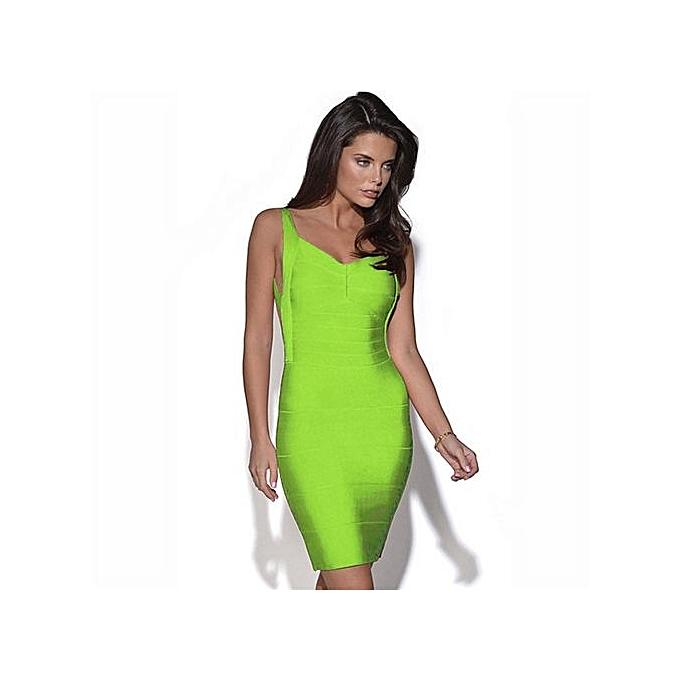 mode été Sexy femmes& 039;s vert Cut Out Zipper Bodycon courte Robe Round Neck Sleeveless Sheath Mini Robe-vert à prix pas cher