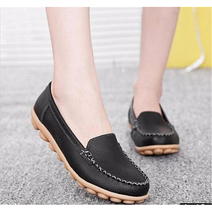 Fashion New Fashion femmes Genuine Leather Casual Bowed Flat chaussures Moccasin Soft Loafers à prix pas cher    Jumia Maroc