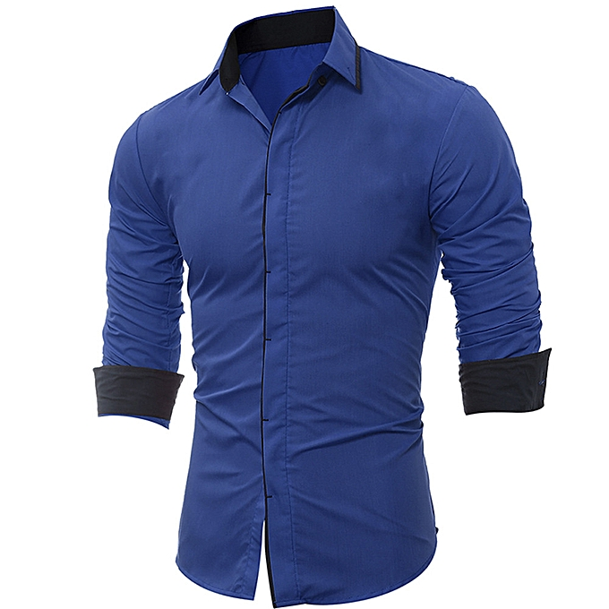 Fashion Men Shirt Fashion Solid Couleur Stripe Male Casual Long Sleeve Shirt  -bleu à prix pas cher